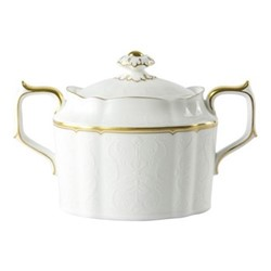 Darley Abbey Pure Gold Large covered sugar bowl, H10cm, white/gold