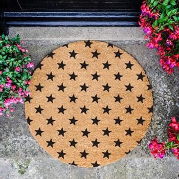 Stars Circle Doormat , L70 x W70 x D1.5cm, natural/black