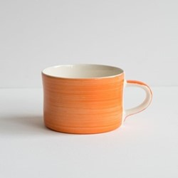 Plain Wash Set of 6 mugs, H7 x W10.5cm, tangerine
