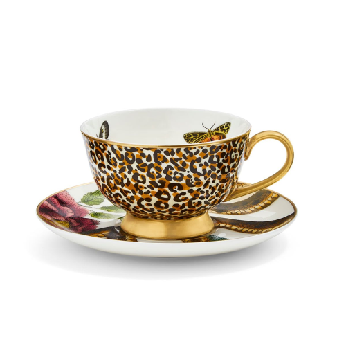 Creatures of Curiosity Tea Cup & Saucer Coupe, White