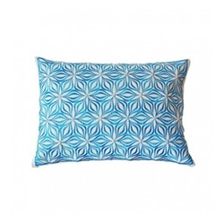 Martha Geometric Rectangular linen cushion, L50 x W30cm, sky blue
