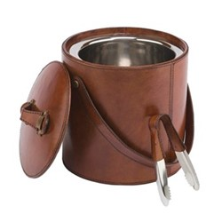 Ice bucket and tongs, tan leather