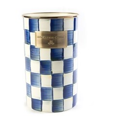 Royal Check Utensil holder, D12.7 x H21.59cm, blue & white