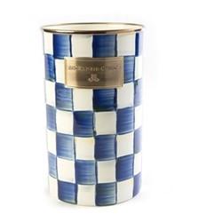 Royal Check Utensil holder, D12.7 x H21.59cm, blue & white