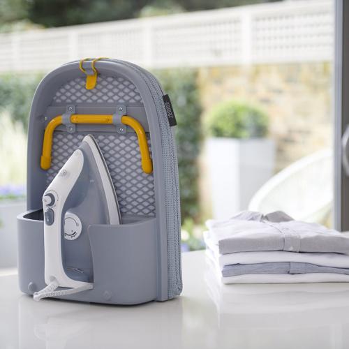 Pocket Folding Table Top Ironing Board Grey/yellow