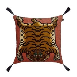 Saber Large velvet cushion, 60 x 60cm, pink