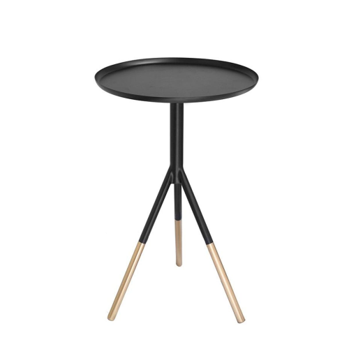 Tripod table, H58cm x Dia37cm, Matt Black//Brass