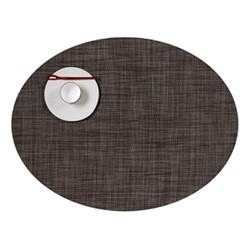 Mini Basketweave Set of 4 oval placemats, 36 x 49cm, dark walnut