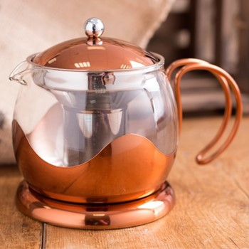 Origins Teapot, H16 x W13.5 x L20.5cm - 660ml, copper