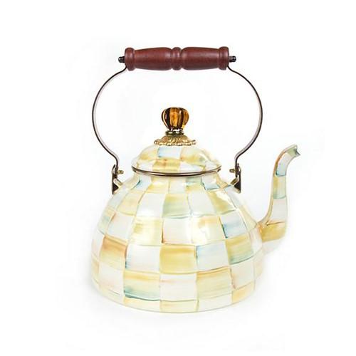 Parchment Check Tea kettle, 3.4L, cream