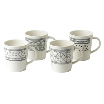 Ellen DeGeneres - Grey Lines Set of 4 mugs, 11cm, charcoal grey