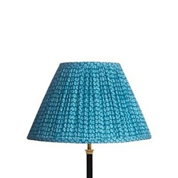 Empire Block printed lampshade, 40cm, blue cotton
