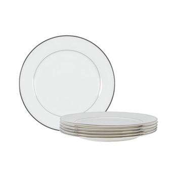 Fenton Set of 6 dinner plates, D27 x H2.4cm, white/platinum