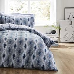 Ziggurat Super king size duvet cover and pillowcase set, 220 x 260cm, blue