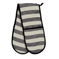 Fastnet Stripe Double oven glove, 84 x 17cm, black