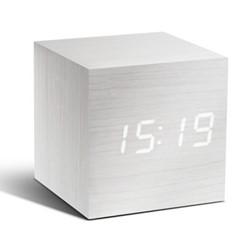 Cube Click Clock, L6.8 x W6.8 x H6.8cm, white/white