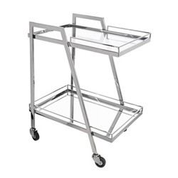 Rectangular drinks trolley, L64 x W46 x H80cm, silver