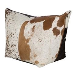 Cowhide Pouf, H40 x W90 x D55cm, brown