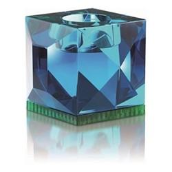 Ophelia T-light holder, L9 x H7.8 x D9cm, azure/green