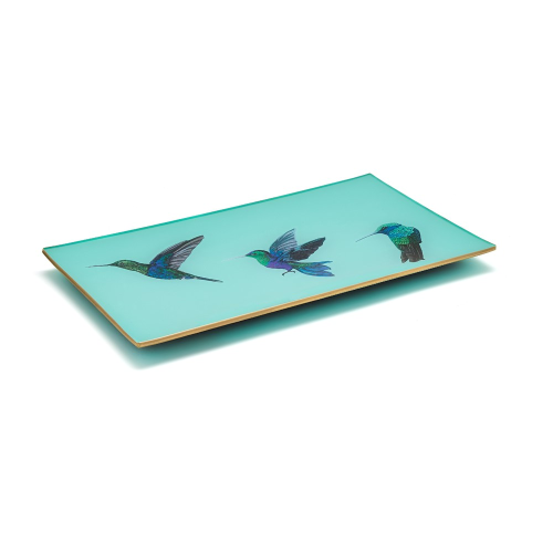 Hummingbirds Decoupage tray, 25 x 15cm, Pale Aqua/Gold Edging