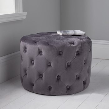 Tufted velvet stool, L60 x W60 x D42cm, grey
