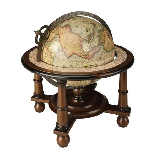Navigator's Terrestrial Globe, H30 x D26.5cm, Honey Distressed Cherry Wood