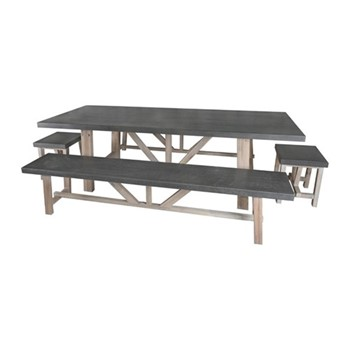 Chilson Table and bench set, cement fibre