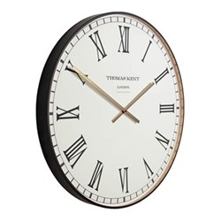 Clocksmith Black Large wall clock, 76cm, black/white/brass