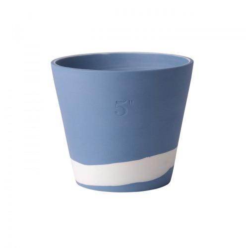 Burlington Planter, 12cm, White/Pale Blue
