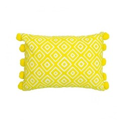 Kabuki Rectangular cushion with pompoms, L50 x W35cm, yellow. white