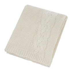 Knitted Cable Throw, W130 x L170cm, natural