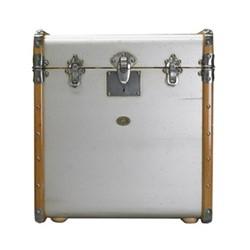 Stateroom Trunk, H56 x W53 x L45cm, silver/honey distressed maple/pine