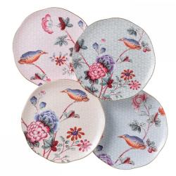 Harlequin Collection - Cuckoo Tea Story Set of 4 tea plates, 21cm