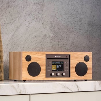 Musica Smart speaker and CD player, L40.5 x W16.6 x H14.3cm, hickory black