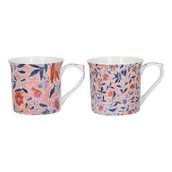 Mughal Empire Pair of mugs, H9 x W25 x L11cm, red