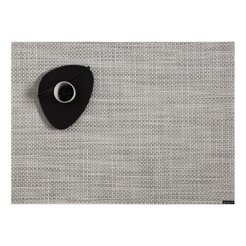 Basketweave Set of 4 rectangular placemats, 36 x 48cm, White/Silver