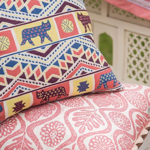 Oakleaves Cushion, 50 x 50cm, Pink