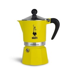 Rainbow Aluminium stovetop coffee maker, 3 cup, yellow