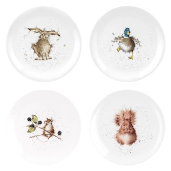 Wrendale Designs Set of 4 assorted coupe plates, 20cm