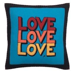 Pop Art Cushion, Love Love Love, 46 x 46cm, blue