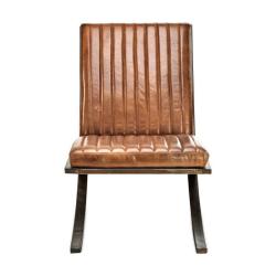 Narwana Lounger, 70.5 x 50.5 x 79cm, Aged Leather & Iron
