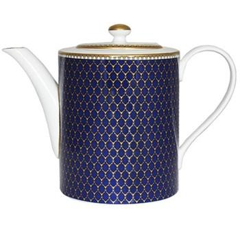 Antler Trellis Teapot, H15 x D11cm, midnight blue and gold