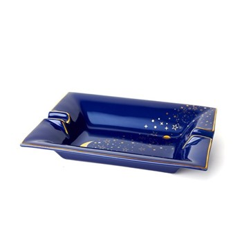 Luna Trinket tray, L20 x W16 x H3.6cm, Navy and gold