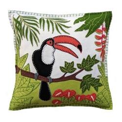 Tropical Toucan Cushion, 46 x 46cm, cream