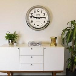 "Giant ""Electric"" Station Wall clock, 60 x 60 x 13cm, chrome"