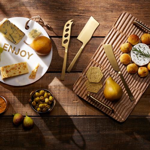 Set of 3 cheese knife set, Brass