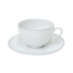 Pearl Set of 6 teacups and saucers, White