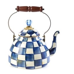 Royal Check Tea kettle, D22.86 x H33.02cm, blue & white