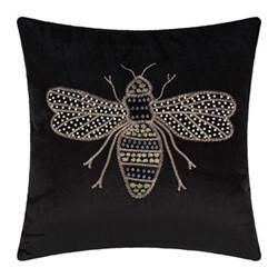 Animal - Bee Velvet cushion, 40 x 40cm, black