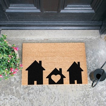 Home Is Where The Heart Is Doormat , L60 x W40 x H1.5cm, black/brown
